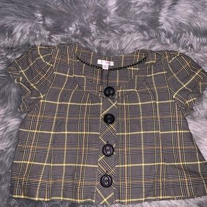 Xhilaration Short Plaid Round Neck Jacket